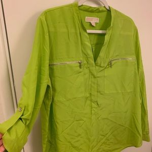 Michael Kors bright green tunic shirt size XL